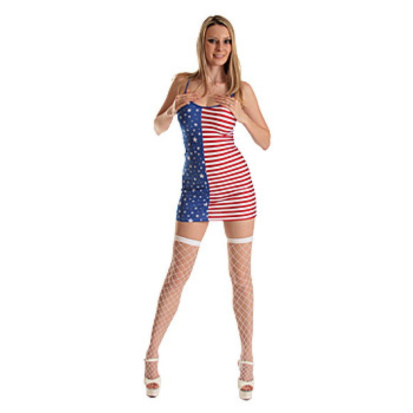 2133-Flag Print Spaghetti Strap Mini Dress