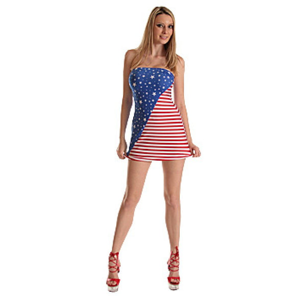 Women's, Flag Print Strap Mini Tube Dress HE-2134