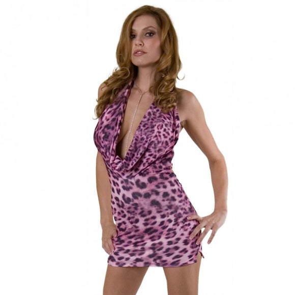 Women's Sexy Cowl Neck Mini Dress. HE-2150 Pink/Leopard