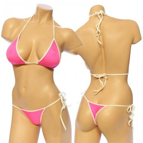 Women's, Two Tone Lycra Tie Side Bikini Set. HE-3001-T Pink/White
