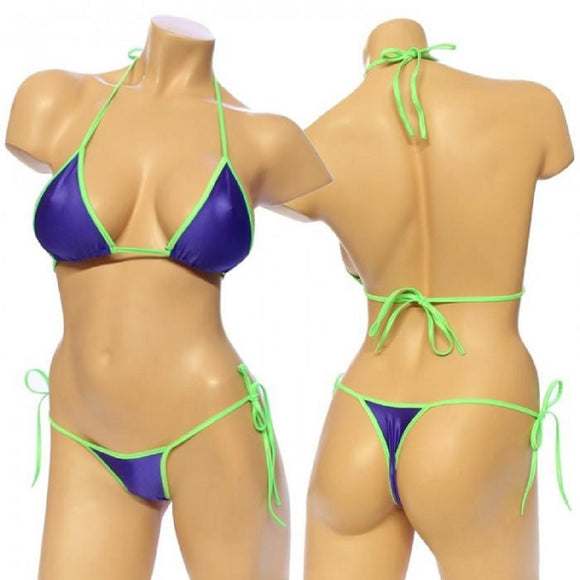Women's, Two Tone Lycra Tie Side Bikini Set. HE-3001-T  Purple/Lime