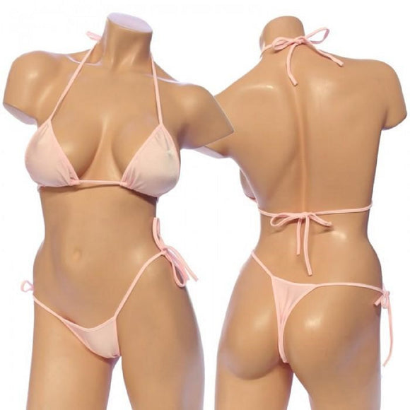 Women's, Tie Side Bikini Set. HE-3001 Baby/Pink