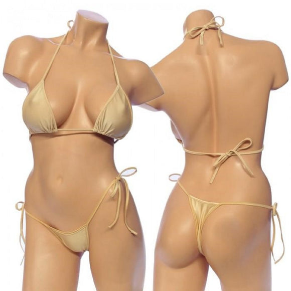 Women's Lycra Tie Side Bikini Set Top with Matching G-String. HE-3001 Nude