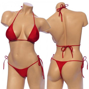 Women's Lycra Tie Side Bikini Set Top with Matching G-String. HE-3001 Red