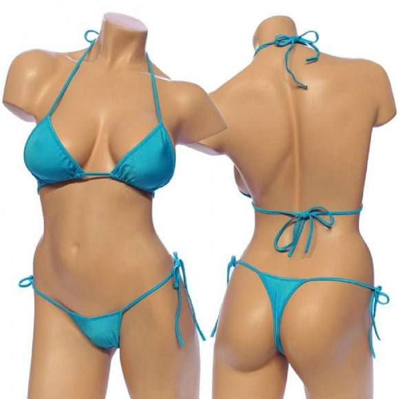 Women's Lycra Tie Side Bikini Set . HE-3001 Turquoise