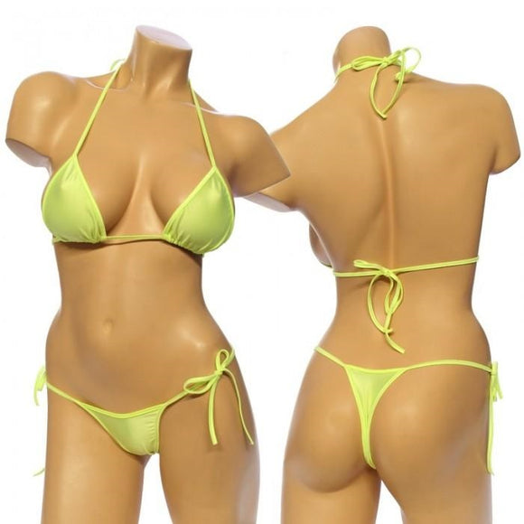 Women's Lycra Tie Side Bikini Set . HE-3001 Yellow