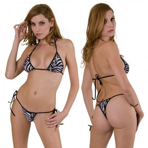 Exotic, Tie Side Bikini Set. HE-3059 Zebra Print