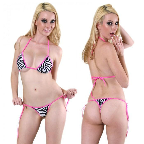 Exotic, Tie Side Bikini Set. HE-3059 Zebra/Pink