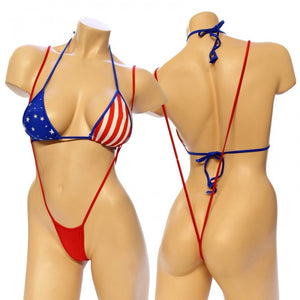 Exotic Flag Print Sling Shot And Bikini Top Set. HE-3094