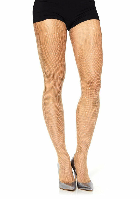 Women's, Lady's, Rhinestone Fishnet Net Tights,  Pantyhose. Leg Avenue 9016 Nude