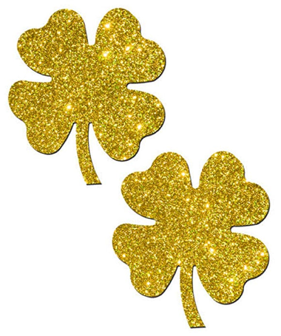 Four Leaf Clover: Glittering Gold Shamrocks Nipple Pasties by Pastease® o/s