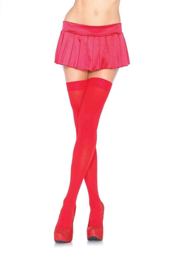 Women's. Opaque Nylon Thigh High Stockings. Leg Avenue 6672. Red