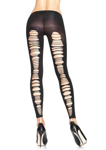 Women's, Exotic, Opaque Footless Tights Stockings. Leg Avenue 7331 Black