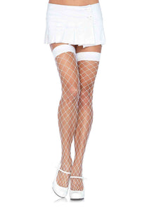 Women's, Fence Net Thigh High  Stockings,  Leg Avenue 9014  White