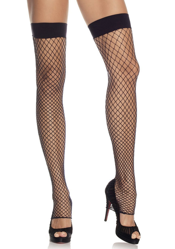 Industrial Net leg warmers. Fishnet Footless Thigh Highs. Leg Avenue 9089, Black