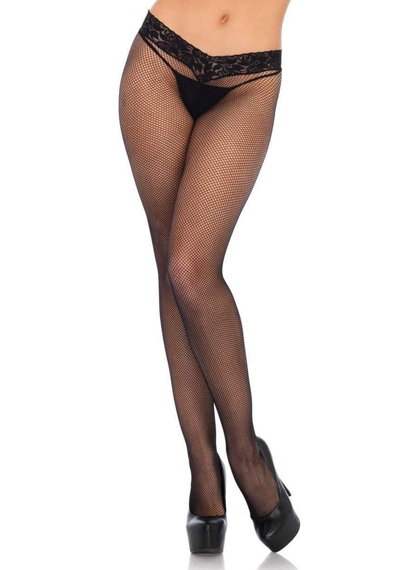 Women's, Low Rise Lace Top Net Tights. Pantyhose. Leg Avenue 9766,  Black