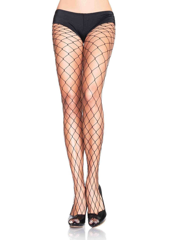Women's Spandex Diamond Fence Net Pantyhose Stockings. Leg Avenue 9905. Black