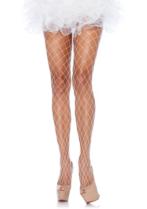 Women's Spandex Diamond Fence Net Pantyhose Stockings. Leg Avenue 9905. White