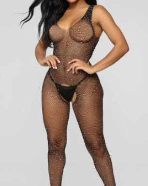 Sexy Sparkle Rhinestone Fishnet Sleeveless crotchless bodystocking  Wenni 190100101