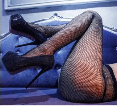 Sexy Exotic Dancer Fishnet Rhinestone Pantyhose Wenni 2018091501
