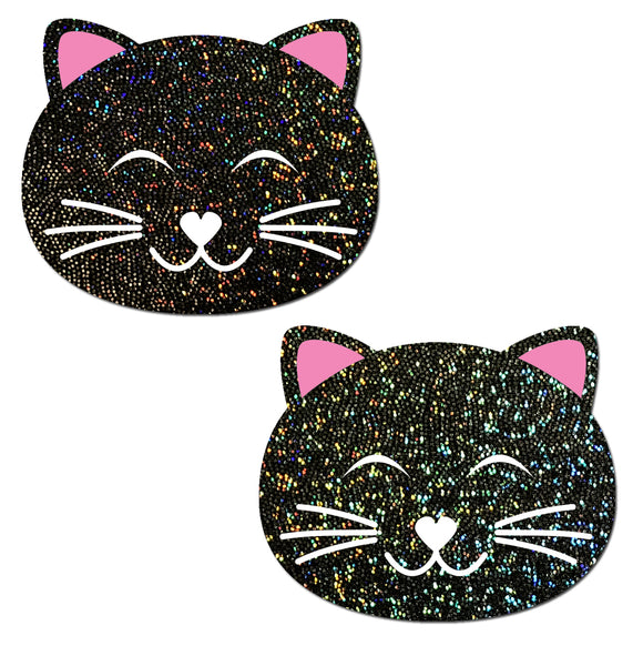 Happy Black Glitter Kitty Cat Nipple Pasties by Pastease® o/s