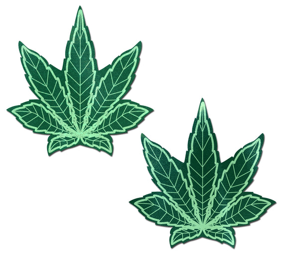 Indica Pot Leaf: Green Weed Nipple Pasties by Pastease® o/s