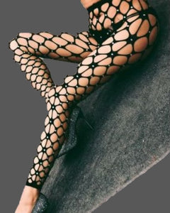 Sexy Exotic Dancer Rhinestone Hollow Out Net Footless Pantyhose WN190W60