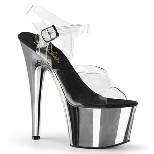 "Pleaser Adore-708 Women's Exotic Dancing Ankle Strap 7"" Platform Sandal. Clear Silver Chrome"