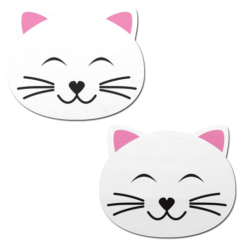 Happy White Kitty Cat Nipple Pasties by Pastease® o/s