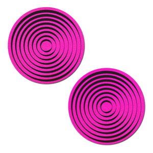 Trippy UV Reactive Neon Pink Circle with Black Spiral Nipple Pasties by Pastease® o/s