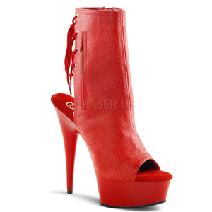 "Pleaser DELIGHT-1018 Clubwear, Exotic Dancing, 6"" Platform Ankle/Boots. Red"