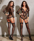 Women's, Stretch Fishnet Long Sleeved Romper With Ribbon Tie. Dreamgirl 0269 Black