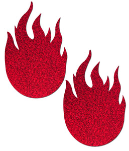 Flame: Glitter Red Flames Nipple Pasties by Pastease.