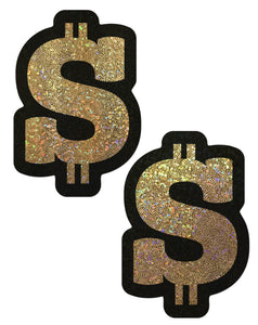 Gold Glitter Dollar Sign Nipple Pasties by Pastease® o/s