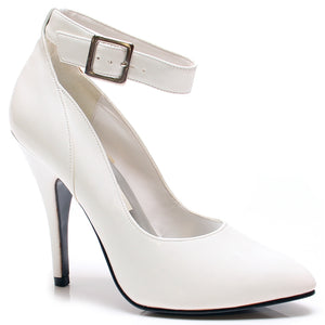 "HOT-1 Women's Sexy Stiletto Heel Closed Toe Ankle Strap 5"" Pumps. White/Pat"