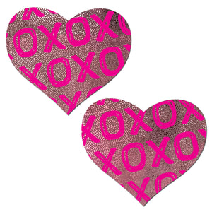 Love: Xs and Os on Baby Pink Hearts Nipple Pasties by Pastease® o/s