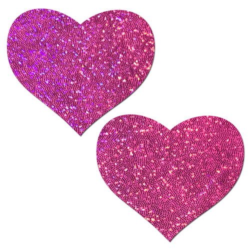 Hot Pink Glitter Heart Nipple Pasties by Pastease® o/s