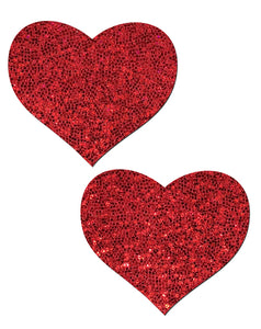 Love: Red Glitter Heart Nipple Pasties by Pastease.