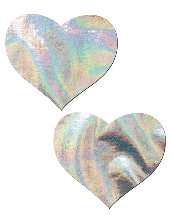 Love: Silver Holographic Heart Nipple Pasties by Pastease® o/s