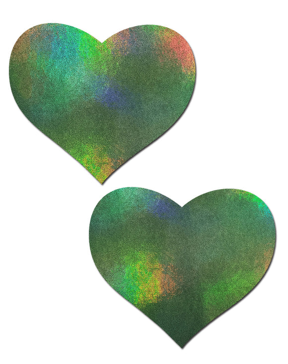 Love: Liquid Holographic Green Blue Gold Heart Nipple Pasties by Pastease® o/s