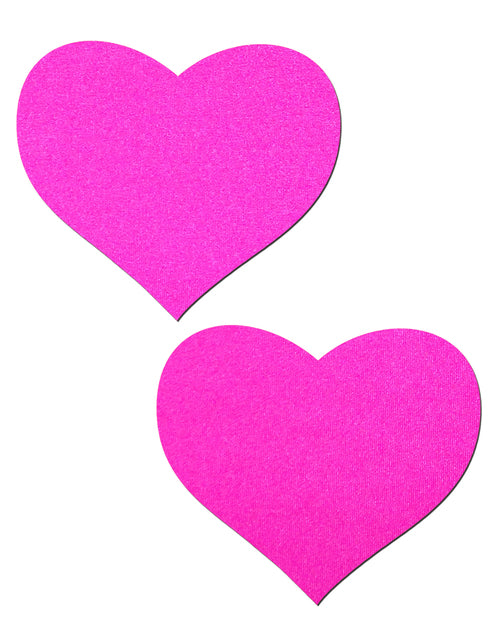 Love: Neon Pink Day-Glow Lycra Heart Nipple Pasties by Pastease® o/s