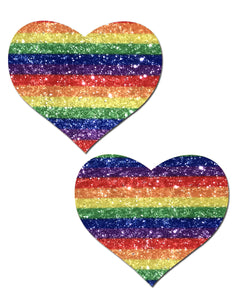 Love: Glittering Double Rainbow Heart Nipple Pasties by Pastease® o/s