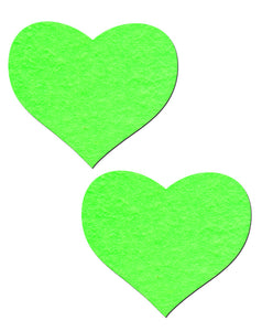 Love: Neon Green and Glow-in-the-Dark Hearts Nipple Pasties by Pastease® o/s