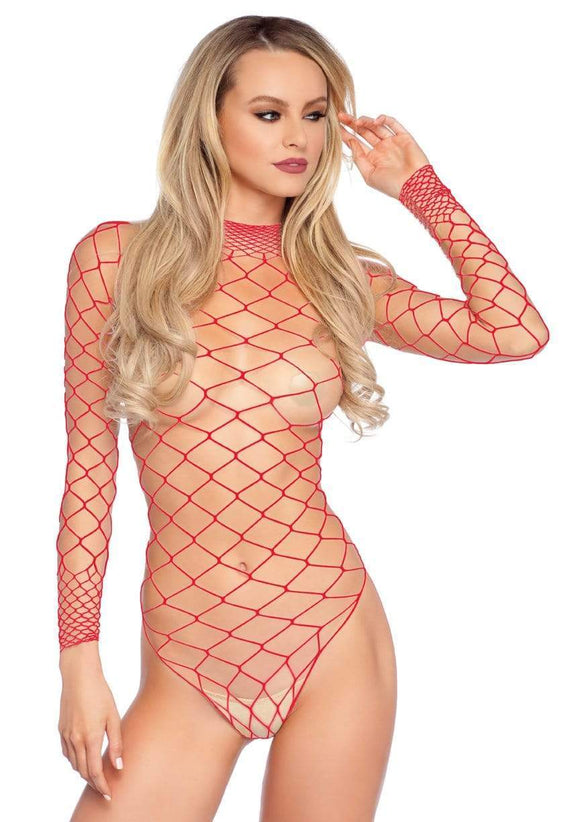 Women's, High Neck Wide Fishnet Long Sleeved Bodysuit. Leg Avenue 89210 Red