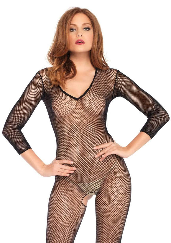Women's, Deep-V Long Sleeved Fishnet Bodystocking. Leg Avenue 8378
