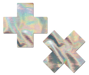 Plus X: Silver Holographic Cross Nipple Pasties by Pastease® o/s