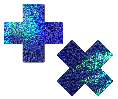 Plus X: Liquid Spectrum Blue Cross Nipple Pasties by Pastease® o/s