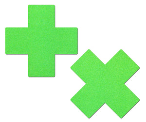 Plus X: Neon Green Day-Glow Lycra Cross Nipple Pasties by Pastease® o/s