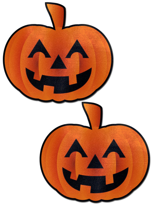 Pumpkin: Spooky Halloween Jack O' Lantern Nipple Pasties by Pastease® o/s