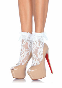 Lady's, Lace Anklet With Ruffle Cuff. School Girl Socks. Leg Avenue 3030  White